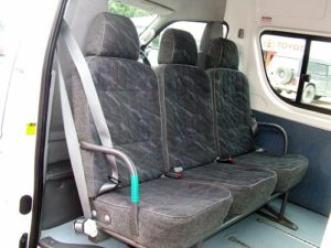 Rear-facing seat, lacking strength to restrain occupants frontal impact